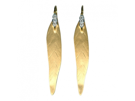14KYG Diamond Feather Earrings - 14 Karat Yellow Gold Diamond Feather Earrings Diamond Weight=.12 ctw