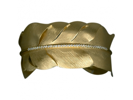 14KYG Diamond Feather Cuff Bracelet - 14 Karat Yellow Gold Diamond Feather Cuff Bracelet Diamond Weight=.40 ctw
