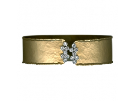 14KYG And Diamond Cuff - 14 Karat Yellow Gold And Diamond Cuff Bracelet Diamond Weight=.25 ctw